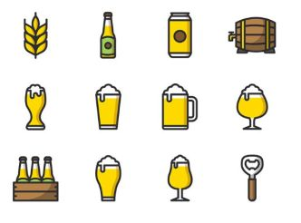12-beer-icons-vector