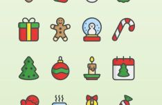 16-flat-christmas-icons-vector