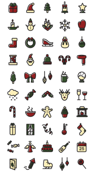 50-vector-christmas-icons-2-versions