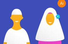 flat-muslim-and-muslimah-characters-vector