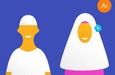 flat-muslim-and-muslimah-characters-vector