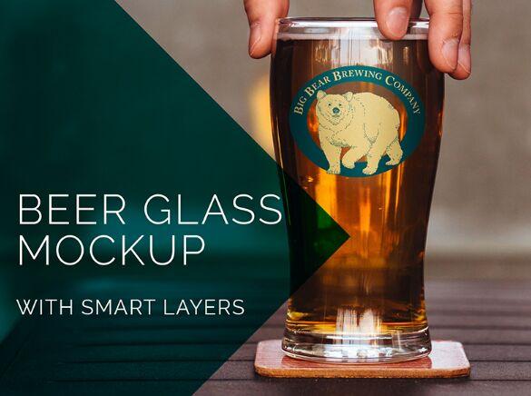 Beer Glass Bottle With Logo PSD Mockup