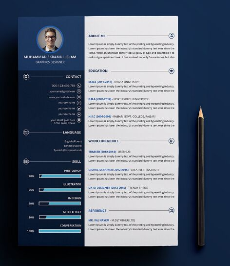 free customizable print ready resume  u0026 cv psd template