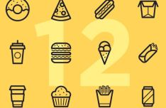 12 Fast Food Line Icons Vector