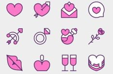 12 Valentine Icons Vector (3 Versions)