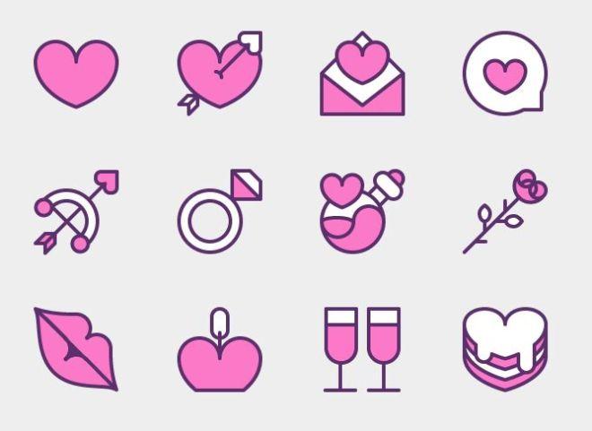 12 Valentine Icons Vector (3 Versions)