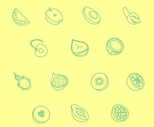 20 Minimal Fruit Line Icons SVG