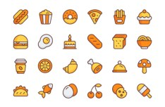 24 Colored Food Vector Icons