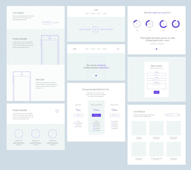 Minimal Web Wireframe Template Vector