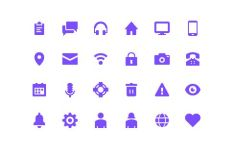 24 Color Filled UI Icons (PSD+Vector)