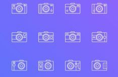 12 Camera Outline & Filled Icons Vector