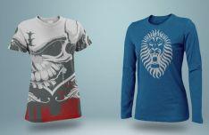 Realistic Man T-shirt PSD Mockups (Long and Short)