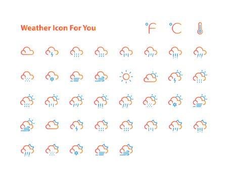 40 Thin Line Weather Icons Vector