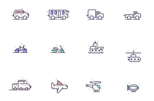 12 Transportation Icons Vector