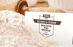 Business Card In Flour PSD Mockup