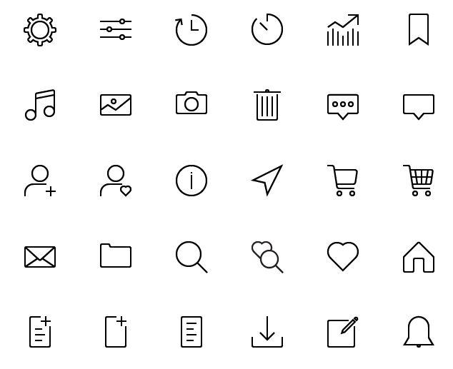 45 Thin Line UI Icons (AI+PSD+SVG)