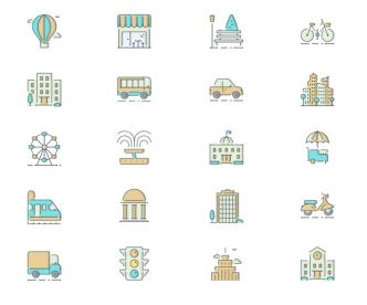 12 Lovely City Icons (PNG+SVG)