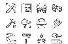 12 Constructions Line Icons Vector