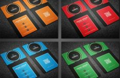 Modern Vertical Business Card Templates PSD (4 Colors)