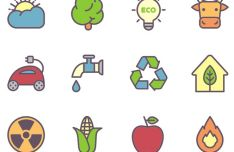 12 Minimal ECO Icons Vector