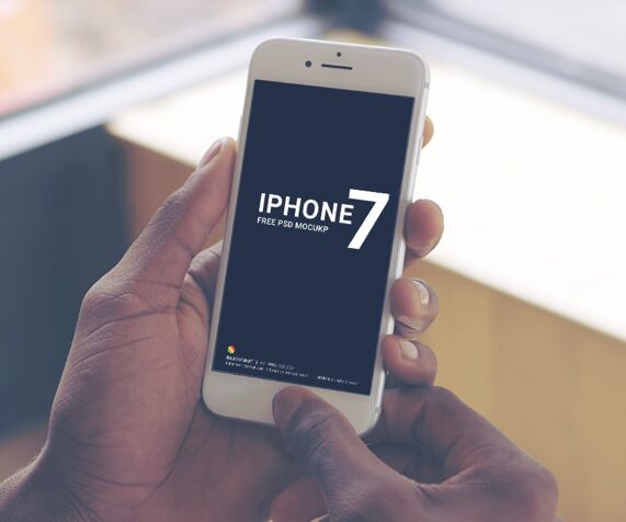 iPhone 7 Holding In Hand PSD Mockup