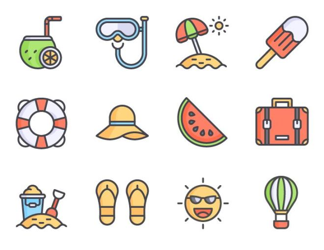 12 Lovely Summer Holiday Icons Vector