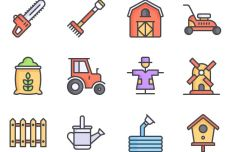 12 Colorful Farm Icons Vector