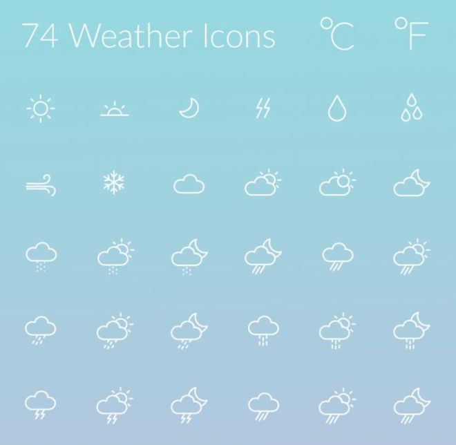 74 Weather Line Icons (AI+PSD)