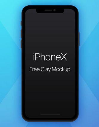Dark iPhone X Clay Mockup PSD