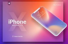 Floating iPhone X PSD