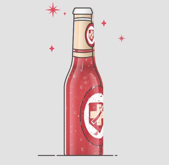 Flat Liqueur Bottle Vector Illustration
