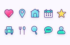 10 Lovely Stroked Icons Vector