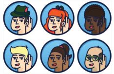 6 Character Hearing Vector Icons