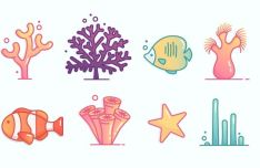 8 Lovely Coral Reef Icons Vector