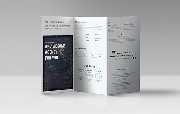 Realistic Professional Tri-folder Brochure PSD Template
