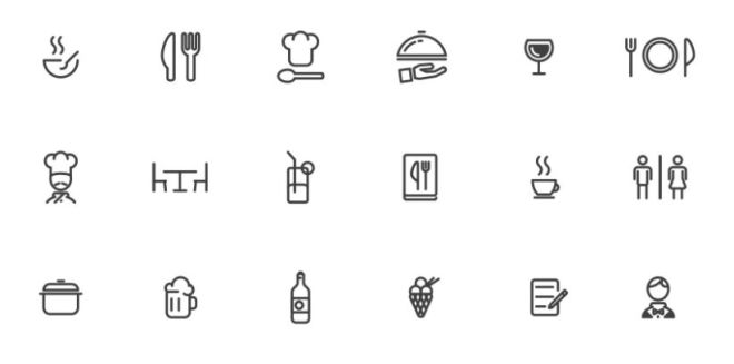 18 Restaurant Line Icons Vector