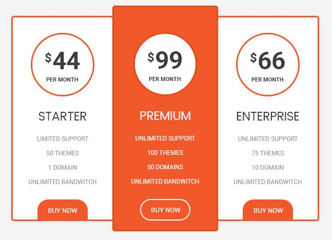 Minimal Orange Pricing Table PSD Template