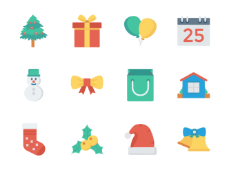 12 Flat Christmas Vector Icons