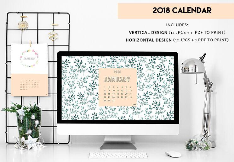 free 2 print ready calendar 2018 templates titanui. Black Bedroom Furniture Sets. Home Design Ideas