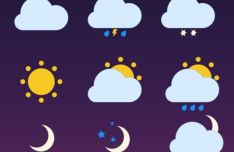 6 Basic Minimal Weather PSD Icons