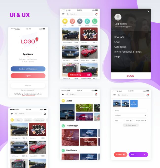 Clean Professional Mobile UI UX Design Sketch