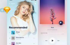 Modern Music App UI Kit Sketch