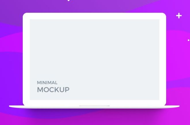 Minmal Flat Macbook Template For Photoshop