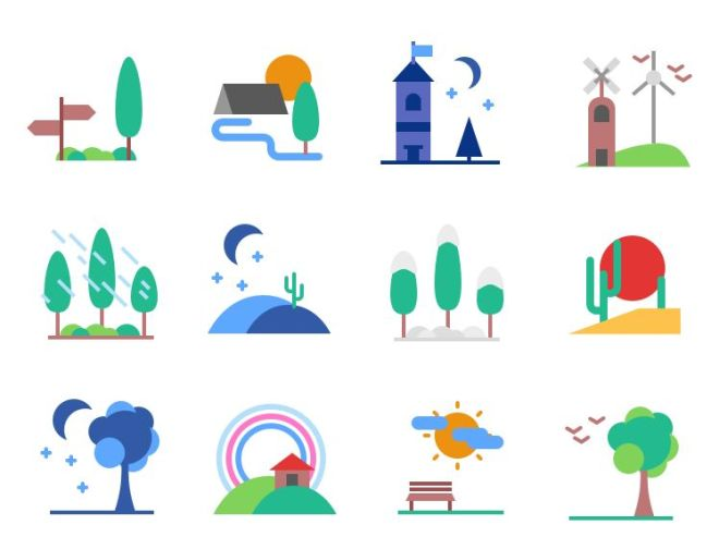 12 Flat Landscape Vector Icons