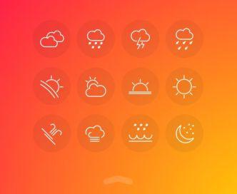 12 Minimal Weather Line Icons PSD