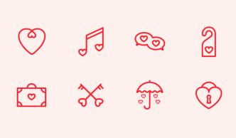 8 Minimal Valentine's Day Line Icons Vector