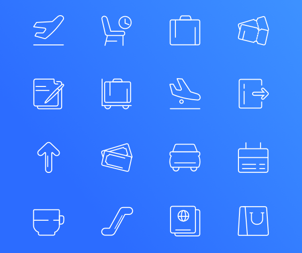 16 Airport Line Icons For Sketch