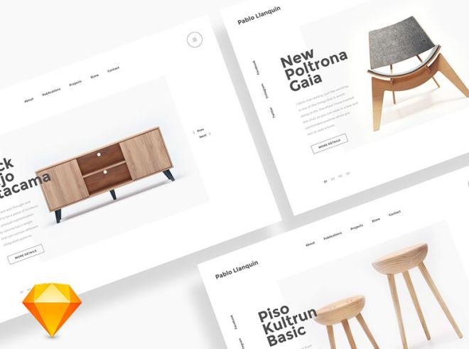 Clean Furniture Landing Page Template Sketch