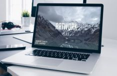 Realistic Macbook Pro & Workspace PSD Mockup