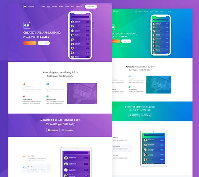 Modern App Landing Page Template For Photoshop